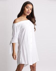 New Look Bardot Neck Beach Dress White