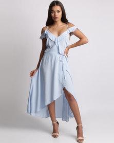 New Look Cold Shoulder Midi Dress Pale Blue