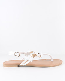 New Look Heated Toe Post Sandals White