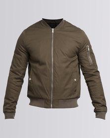 New Look Zip Sleeve Bomber Jacket Khaki