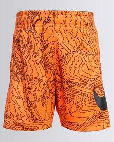 Nike Boys Dry AOP Fly Shorts Orange