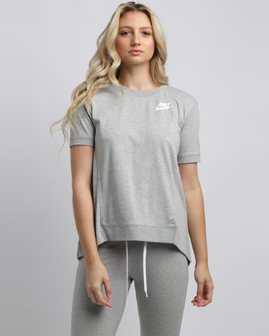 Nike Womens NSW Gym CLC Crew Short Sleeve Top Grey