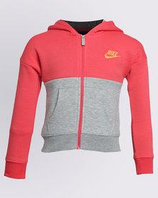 Nike Girls Club Zip Thru Hoodie Grey