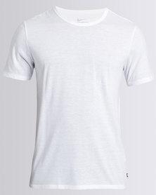 Nike Mens Nike Swoosh Tee Tri-Blend Solid Futura White