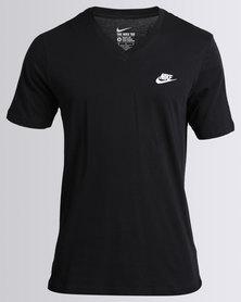 Nike Mens Nike Swoosh Tee V-Neck Club Embroid Futura Black