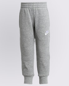 Nike Boys Club Fleece Rib Cuff Trackpants Grey