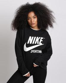 Nike Womens Nike Sports Wear Crew Archive Black