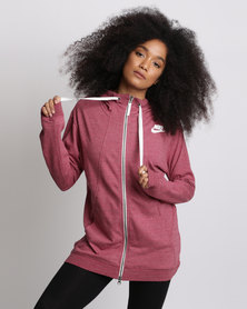 Nike Womens Nike Sportswear Gym Classic Hoodie Full-Zip Red