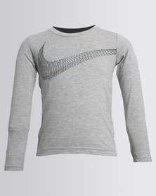 Nike Boys Swoosh Flow Long Sleeve Tee Grey