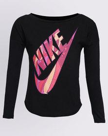 Nike Girls Futura AM90 L/S Tee Black