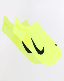 Nike Performance Unisex Dry Elite Cushioned No-Show Running Sock Volt/Black