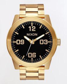 Nixon Gents Corporal Strap Watch Gold-Tone