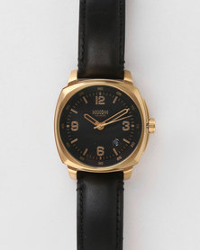 Nixon Gents Charger Leather Strap Watch Black