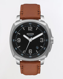 Nixon Gents Charger Leather Strap Watch Brown