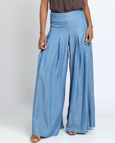 non-european Culotte Wide Leg Pants Blue