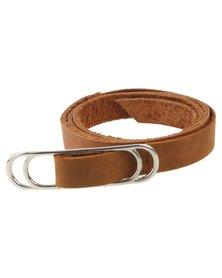 non-european Genuine Leather Slider Belt Tan and Silver