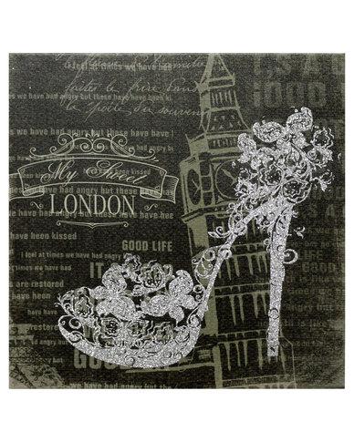 London Wall Art novelonline canvas print glitter shoe london wall art silver | zando