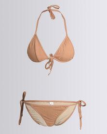 Nude Wear Triangle Bikini Set Toffee