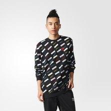 Allover Print Linear Crew Sweatshirt
