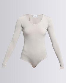 Paige Smith Basic Longsleeve Bodysuit Stone