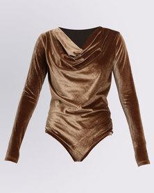 Paige Smith Velvet Cowl Bodysuit Gold