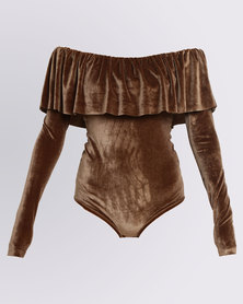 Paige Smith Frill off Shoulder Velvet Bodysuit Stone