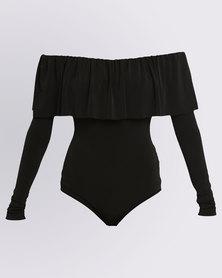 Paige Smith Frill off Shoulder Velvet Bodysuit Black