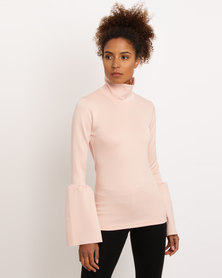 Paige Smith Frill Sleeve Poloneck Blush
