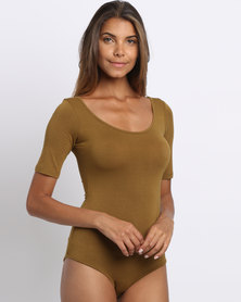 Paige Smith Short Sleeve Bodysuit Gold