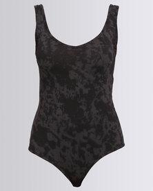 Paige Smith Vest Bodysuit Tie Dye Charcoal