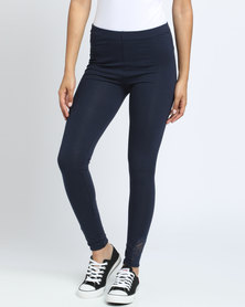 Paige Smith Lace Inset Leggings With Ankle Detail Navy