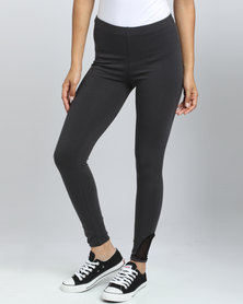 Paige Smith Mesh Inset Leggings With Ankle Detail Charcoal