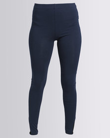 Paige Smith Mesh Inset Leggings With Ankle Detail Navy