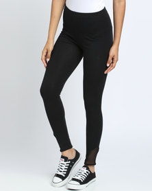 Paige Smith Mesh Inset Leggings With Ankle Detail Black