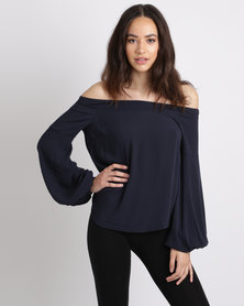 Paige Smith Off Shoulder Blouse Navy