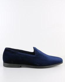 Paul Of London Velvet Formal Slip On Shoe Navy
