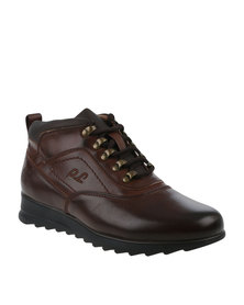 Paul of London Casual Lace Up Ankle Boot Brown