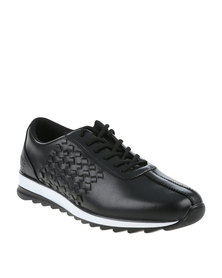 Paul of London Casual Lace Up Shoe With Weave Detail Black
