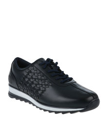 Paul of London Casual Lace Up Shoe With Weave Detail Navy