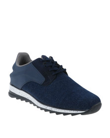 Paul of London Casual Lace Up Low Cit Sneaker Denim Blue