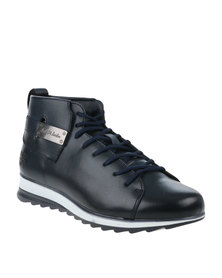 Paul of London Casual Lace Up Boot With Back Buckle Navy