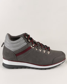 Paul of London Casual Lace Up High Top Sneaker    Grey