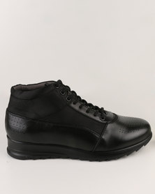 Paul of London Casual Lace Up High Top Sneakers Black