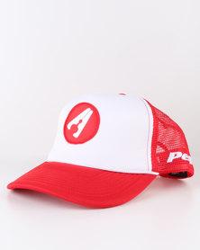 Peg D3 Trucker Cap Bent Peak Red and White