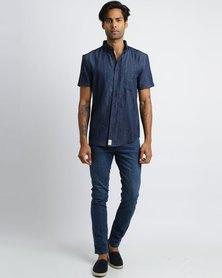 Peg Artisan Short Sleeve Shirt Denim Blue