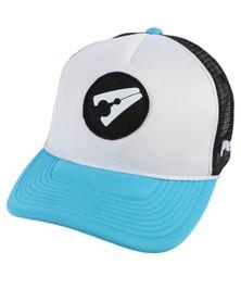 PEG D3 Trucker Cap Bent Peak Black Light Blue and White