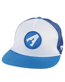 PEG D3 Trucker Cap Flat Peak Dark Blue and White