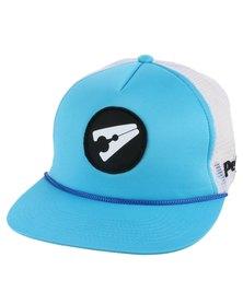 PEG D3 Trucker Cap Flat Peak White and Light Blue