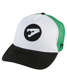 PEG D3 Trucker Cap Bent Peak Green Black and White