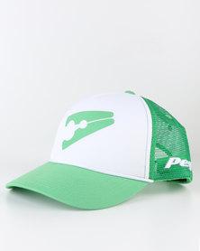 Peg D1 Trucker Cap Bent Peak Green and White